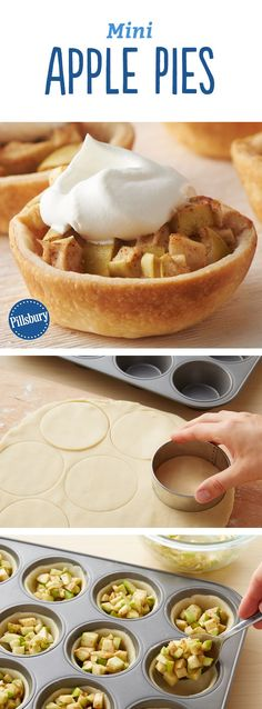These adorable miniature apple pies are perfect for lunchboxes dessert trays and surprise treats Best of all they can be made ahead Expert tip Have extra pie crust There. Mini Desserts, Fall Desserts, Christmas Desserts, Plated Desserts, Apple Recipes, Fall Recipes, Holiday Recipes, Mini Apple Pies, Mini Pies