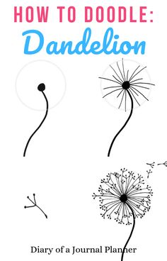 malen/zeichnen How to draw a dandelion: Easy dandelion drawing step by step tutorial Doodle Art Dandelion doodle art Draw Drawing Easy MalenZeichnen Step Tutorial Bullet Journal Art, Bullet Journal Ideas Pages, Bullet Journal Inspiration, Bullet Journals, Journal List, Bullet Journal Decoration, Bullet Journal Banner, Doodle Drawings, Easy Drawings
