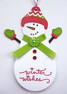 Papertrey Ink Snowman Christmas Tag by Mendi Yoshikawa - Scrapbook.com
