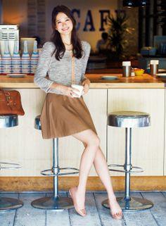 【着まわしday13】ツイード カーディガン×レザースカート | ファッション コーディネート | with online on ウーマンエキサイト