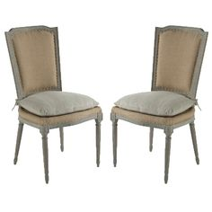 """Vintage Hemp Chairs - Pair  kitchen end chairs $1395/2            Add a touch of casual elegance to your dining room! Durable Burlap fabric covers the base and backrest with a stonewashed Hemp down blended cushion on the seat. The chair is hand-finished in a washed grey. Set of two.    Dimensions: 38.5"""" T x 20"""" W x 21"""" D"""