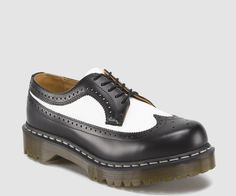 Dr Martens 3989 BROGUE BEX SOLE BLACK & WHITE SMOOTH - Doc Martens Boots and Shoes