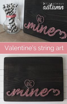 VALENTINE'S STRING ART | click through to this tutorial for tips on making your own custom #DIY #string #art