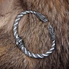 Sterling Silver Wolf Heads Vikings Nordic Handmade Heavy Torc Twisted Wire Bracelet. Bronze Vikings