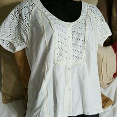 J. Crew Lace Scoopneck Button Up Top Pretty and lacey J. Crew Lace Scoopneck Button Up Top. Some small discoloration on the ribbon edging. Price reflects that. Size medium. J. Crew Tops Button Down Shirts