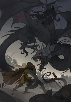 A black dragon fíghting a brave Knight. By artist Iren Horrors. O Hobbit, Wonderful Picture, Black Dragon, High Fantasy, Fantasy Warrior, Fantasy Artwork, Horror Art, Middle Earth, Lord Of The Rings