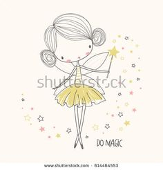 Illustration about Cute little fairy. Can be used for kid`s clothing. Use for print design, surface design, fashion kids wear. Illustration of fairy, illustration, clothing - 90539577 Easy Fairy Drawing, Fairy Drawings, Drawing For Kids, Cute Drawings, Art For Kids, Cute Girl Drawing, Doodle Art, Fairy Nursery, Cute Fairy