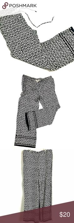 Aztec Print Palazzo Pants Super cute black and white Aztec print palazzo pants. Lightweight and extremely comfortable!  • Elastic waistband with drawstring  • Front pockets • 100% Rayon  **In excellent pre-loved condition. Worn only once or twice. No stains, rips, or pilling.   🛍🛍Save 20% on bundles of 2 or more items😊 Max Studio Pants Wide Leg
