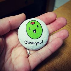 Painted rock / rock painting / rock art / painted stones / olive you