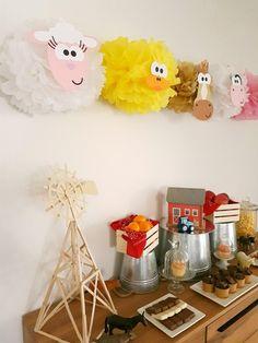 Ovejas partido pompones decoración/corral 1er cumpleaños