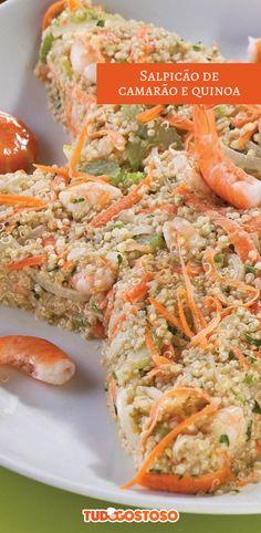 Opte por uma variedade de salpicão para se refrescar durante o verão, experimente esse de camarão e quinoa!
