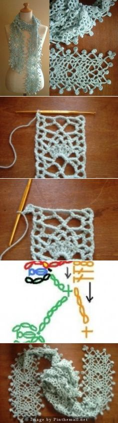 """Raindrop Crochet Lace Stole. Here the original Japanese page with a little chart. It's a small pineapple lace strip really, with the """"raindrops"""" added on every side"""