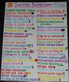 Fun summer bucket list!!