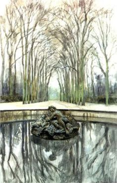 Versailles. Fountain of Bacchus in the winter - Alexandre Benois 1905