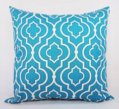 Teal Pillow Covers - Two Teal and White Throw Pillow Covers - 18 x 18 Decorative Pillow Cushion Cover Accent Pillow Sofa Pillow