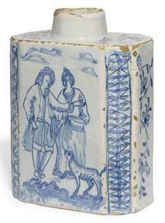 London Delft blue and white rectangular tea canister circa probably Lambeth Delft, Tea Canisters, Tea Tins, English Pottery, Blue And White China, Blue Plates, Pottery Making, Glazes For Pottery, Porcelain Ceramics