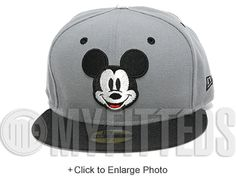 Mickey Mouse Carbon Graphite Grey Jet Black Metallic Silver Walt Disney New Era Fitted Hat