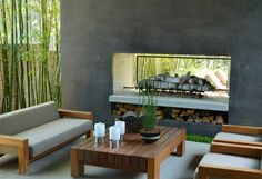 Fireplace, Patio, Bamboo  Outdoor Fireplace  Landscaping Network  Calimesa, CA