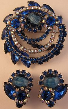 D / Juliana Striped Blue Stone Pin and Earring Set - Book Piece
