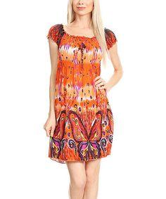 Orange & White Butterfly Smocked Empire-Waist Dress #zulily #zulilyfinds