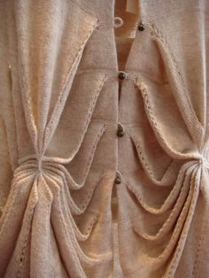 Sculptural Knitwear - cardigan with structured dimensional pattern & layered textures; closeup fashion details Beautifully delicate looking. Knit Fashion, Fashion Art, Fashion Design, Fashion Outfits, Knitting Stitches, Knitting Designs, Textile Fabrics, Pattern Cutting, Vintage Style Dresses