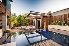 Designed by C.O.S Design – Nelson Road. www.cosdesign.com.au Photo by, Tim Turner. Construction by, Hamilton Landscapes. Pool Construction by, Aloha Pools