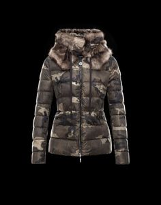 Moncler Online Store - Bonlieu Jacket with camouflage print. Detachable  collar in camouflage print fur