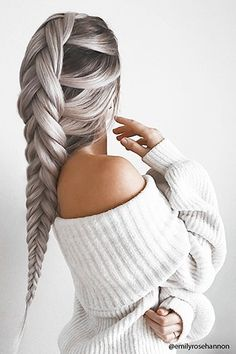 Chenille Off-the-Shoulder Sweater - A ribbed chenille sweater featuring an elasticized foldover off-the-shoulder neckline, long balloon sleeves, and a relaxed fit. Curly Half Wig, Half Wigs, Grey Hair Wig, Brown Hair, Grunge Hair, Cool Hair Color, Gorgeous Hair, Beautiful Braids, Wig Hairstyles