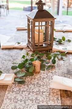 Wedding centerpiece ideas - lantern, rustic, greenery, table decor {Sycamore Tree Photography}
