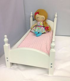Doll Bed American Girl Doll Bed Wooden Doll door SewManyPretties