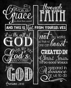 Scripture Art - Ephesians 2:8-10 Chalkboard Style on Etsy, $15.00