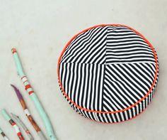 LittleNOMAD's razzle dazzle pouf available here: littlenomad.pakamera.pl, direct order: hellolittlenomad@gmail.com #handmade #design #kidsroom #playtent #pouf #ottoman #neons #stripes #b&w
