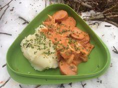 Pølsegryte som turmat Risotto, Mashed Potatoes, Ethnic Recipes, Food, Whipped Potatoes, Smash Potatoes, Eten, Meals, Shredded Potatoes