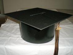 DIY: Crafts for Graduation -- Mortar Board (Graduation Cap) Card Box ♥ Graduation Card Boxes, Graduation Table Decorations, Graduation Year, Graduation Celebration, Party Decoration, Graduation Centerpiece, Wedding Decorations, Diy Card Box, Grad Hat