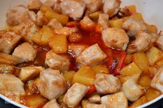 Pui cu ananas, in sos dulce-acrisor - CAIETUL CU RETETE Food And Drink, Ethnic Recipes, Sweet, Pineapple, Candy
