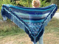 Driehoek sjaal blauw | La Volpe Moda - scarf triangle blue crochet <3