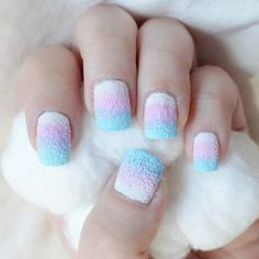 Cotton Candy Nails! This is our kind of DIY mani!  Fun & colourful - just like Us! #GetStuckOnStickcons @ STICKCONS.COM custom bling for converse style sneakers! The ultimate fun fashion accessory!