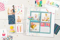 Scrapbooking Pockets for More Memory Space | Make It from Your Heart First Birthday Parties, Birthday Wishes, Girl Birthday, First Birthdays, Birthday Cards, Heart Party, Scrapbook Layout Sketches, Birthday Scrapbook, Pocket Scrapbooking