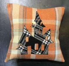 Halloween Room Decor, Halloween Pillows, Halloween Gifts, Halloween Decorations, House Silhouette, Etsy Handmade, Handmade Gifts, Scottish Gifts, Halloween Haunted Houses