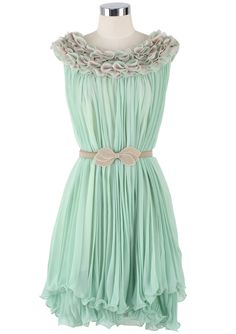 Frilly Mint Pleated Dress