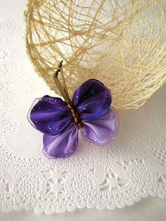 Hair barrette with a handmade fabric butterfly 1 pcs by JujaCrafts, $10.00