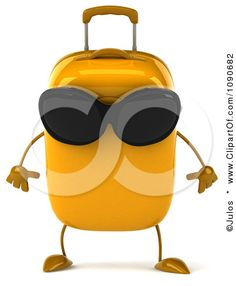 Clipart 3d Tough Yellow Suitcase Wearing Sunglasses - Royalty Free CGI Illustration by Julos