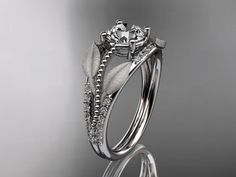 14kt  white gold diamond leaf and vine wedding ring,engagement ring ADLR75. $1,320.00, via Etsy.
