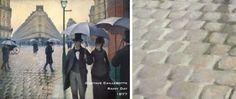 Gustave Caillebotte, Rainy Day, 1877 > Bir süredir yağan yağmurdan dolayı sular kaldırım taşlarına birikmiş.