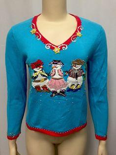 Jack B. Quick Snowman Christmas Sweater S Appliqué Sequins Western Cactus Beads #JackBQuick #VNeck
