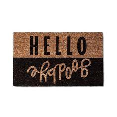 Hello Goodbye Doormat 2'x3' (235 MXN) ❤ liked on Polyvore featuring home, outdoors, outdoor decor, red velvet opaque, red door mat, hello welcome mat, red mat, hello doormat and whimsical garden decor