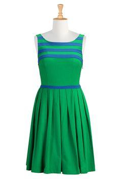 Jade Cotton Knit Dresses, Striped Yoke Knit Dresses Women's sleeveless dresses - Dresses, Cocktail Dresses, Party Dresses -   eShakti.com