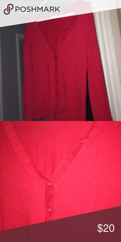 Red cardigan Red cardigan with ruffle on collar. Long sleeve. Ruffle/red buttons New York & Company Sweaters Cardigans
