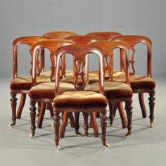 Antieke stoelen / Met stof naar keus stel van 8 comfortabele Engelse mahonie gondola stoelen ca. 1860  (No-142129)