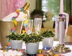 Decoração de mesa para o ano novo.